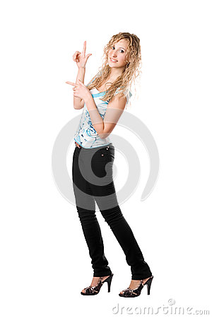 Young playful blond woman