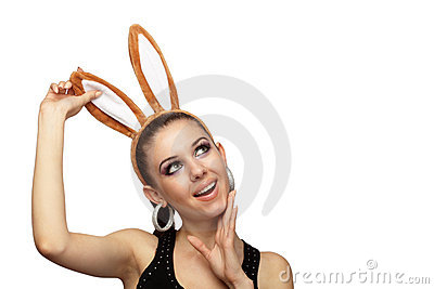 Young playful woman with bunny ears