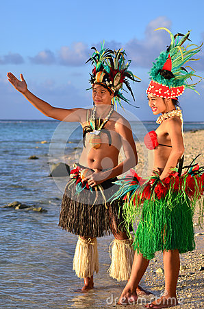 Free Young Polynesian Pacific Island Tahitian Dancers Couple Stock Photos - 34350113