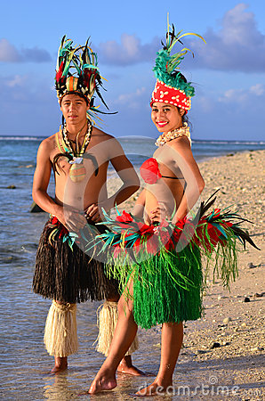 Free Young Polynesian Pacific Island Tahitian Dancers Couple Royalty Free Stock Images - 34350209