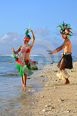 Free Young Polynesian Pacific Island Tahitian Dancers Couple Stock Photos - 34350583