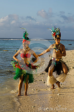 Free Young Polynesian Pacific Island Tahitian Dancers Couple Royalty Free Stock Photo - 34350665