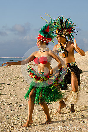 Free Young Polynesian Pacific Island Tahitian Dancers Couple Royalty Free Stock Photos - 34350728