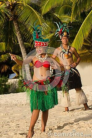 Free Young Polynesian Pacific Island Tahitian Dancers Couple Stock Photo - 34350770