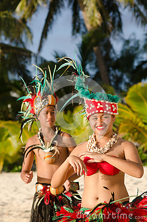 Free Young Polynesian Pacific Island Tahitian Dancers Couple Stock Photography - 35649332