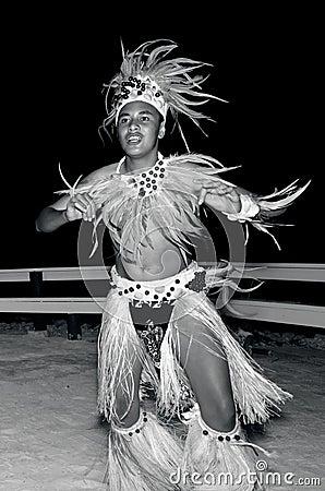 Young Polynesian Pacific Island Tahitian Man Dancers