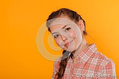 Young positive teenager girl
