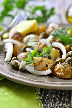 Free Young Potato Salad With Capers And Marinated Onion. Royalty Free Stock Photo - 58139655