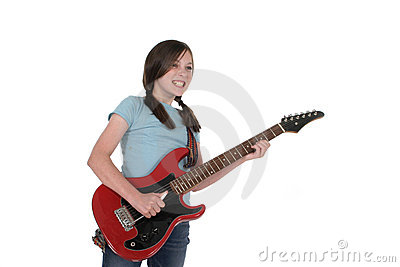 Young Pre Teen Girl Playing Guitar 1
