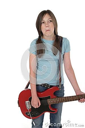 Young Pre Teen Girl Playing Guitar 2