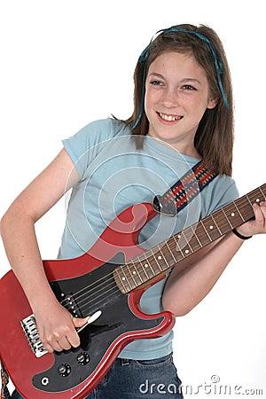 Young Pre Teen Girl Playing Guitar 4