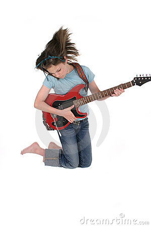 Young Pre Teen Girl Playing Guitar 5