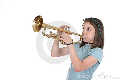 Young Pre Teen Girl Playing Trumpet 1