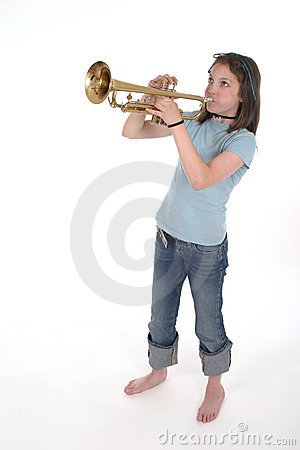 Young Pre Teen Girl Playing Trumpet 2