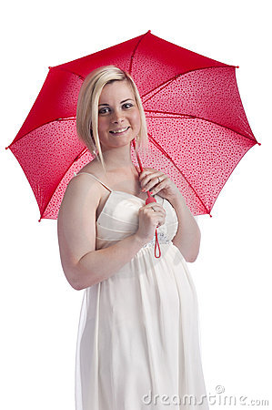 Young pregnant woman with red umbrella