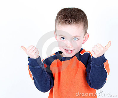 Young preschool age boy with thumbs up