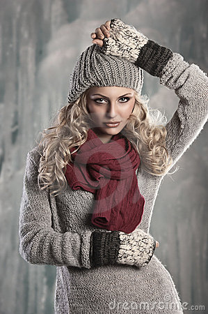 Young pretty blonde winter woman