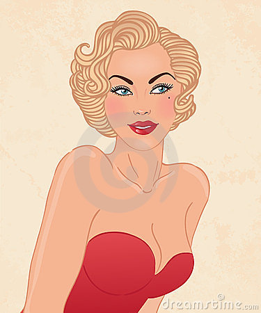 Young pretty blonde woman in 1950-s style