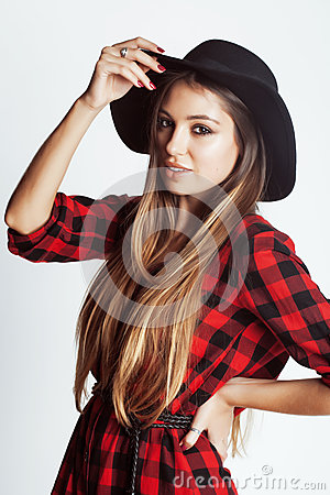 Free Young Pretty Brunette Girl Hipster In Hat On White Background Casual Close Up Dreaming Smiling. Real American Woman Stock Photography - 68923272