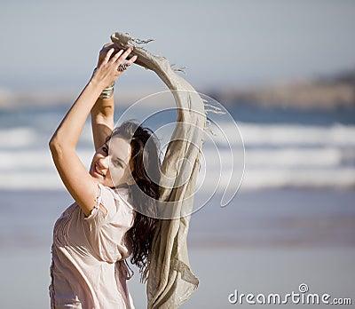 Young pretty girl beach