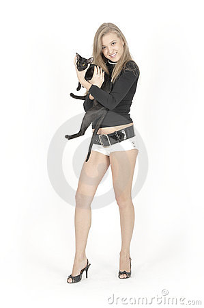 Young pretty girl and cat
