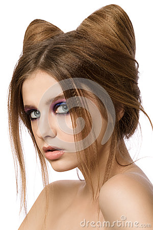 hair cat style pretty with cat ears hairstyle stock photo 4965