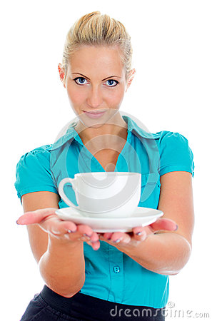 Young pretty girl holding cup of tea.