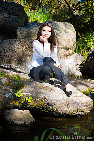 Thank You For Your Order >> Young Pretty Girl On River Bank Royalty Free Stock Photos ...