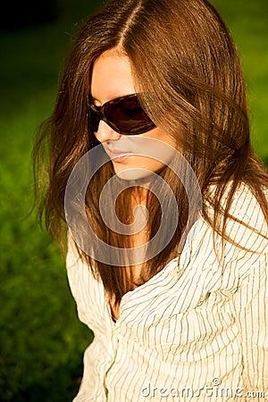 Young pretty girl in sunglasses