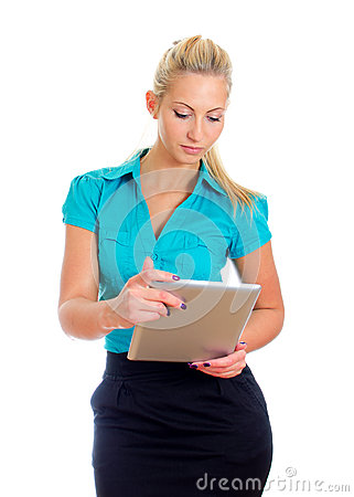 Young pretty girl with tablet computer.