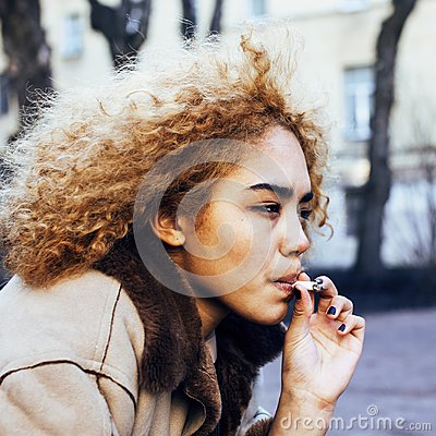 Free Young Pretty Girl Teenage Outside Smoking Cigarette Close Up, Lo Stock Image - 113323391