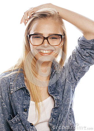 Free Young Pretty Girl Teenager In Glasses On White Isolated Blond Hair Modern Hipster Stock Images - 73295884