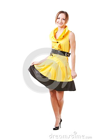 Young pretty girl in yellow dress