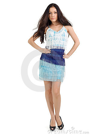 Young pretty lady in blue dress