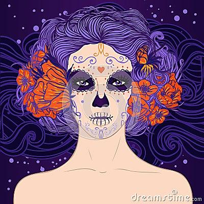 Young pretty Mexican Sugar Skull girl