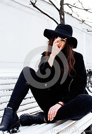 Free Young Pretty Modern Hipster Girl Waiting On Bench At Winter Snow Park Alone, Lifestyle People Concept Stock Photography - 91363552