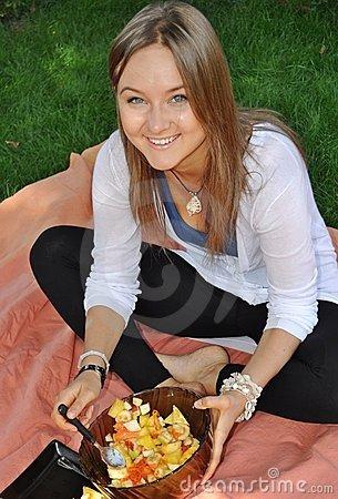 Young pretty Russian model with healthy food