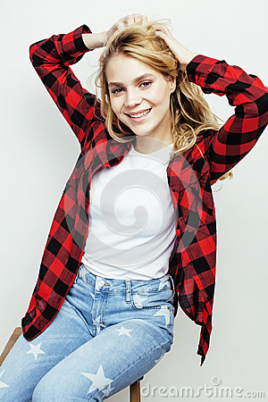 Free Young Pretty Stylish Hipster Teen Girl Posing Emotional Isolated On White Background Happy Smiling Cool Smile, Lifestyle Royalty Free Stock Image - 82350676