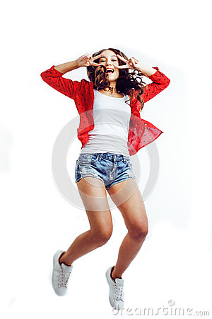 Free Young Pretty Teenage Girl Jumping Cheerful Isolated On White Background, Lifestyle People Concept Stock Image - 79220191