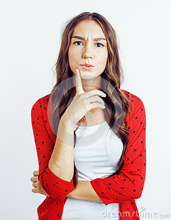 Free Young Pretty Teenage Hipster Girl Posing Emotional Happy Smiling On White Background, Lifestyle People Concept Royalty Free Stock Photo - 92852855