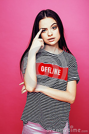 Free Young Pretty Teenage Woman Emotional Posing On Pink Background, Fashion Lifestyle People Concept Stock Image - 83110941
