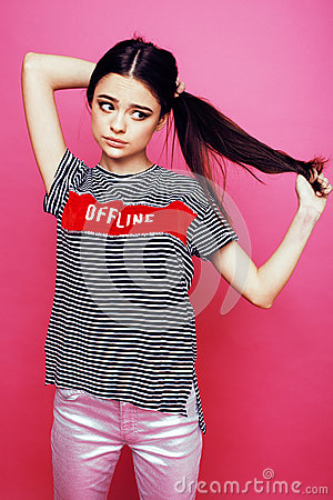 Free Young Pretty Teenage Woman Emotional Posing On Pink Background, Fashion Lifestyle People Concept Royalty Free Stock Photos - 84817928