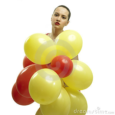 Young pretty woman with balloons