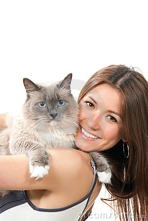 Free Young Pretty Woman Hold Her Ragdoll Cat Stock Photos - 20324373