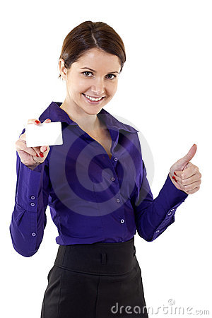 Young pretty woman holding blank business card