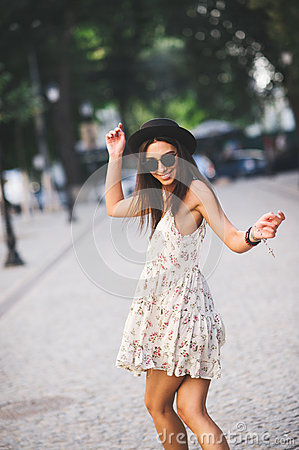 Free Young Pretty Woman Outdoor Fashion Portrait. Stock Image - 67593851