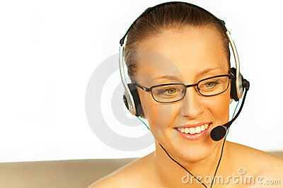 Young pretty woman wearing a phone headset