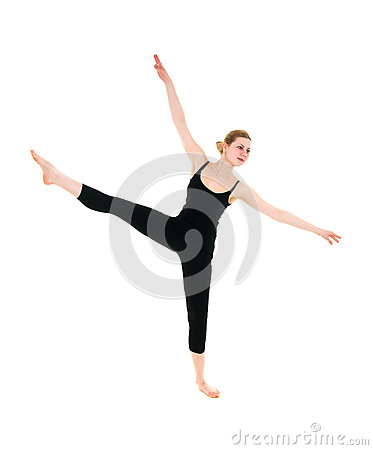 Young professional dancer female stretching