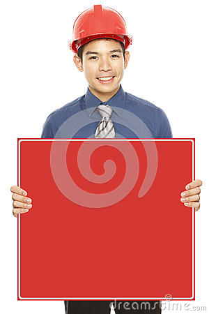 Young Professional Holding Blank Message
