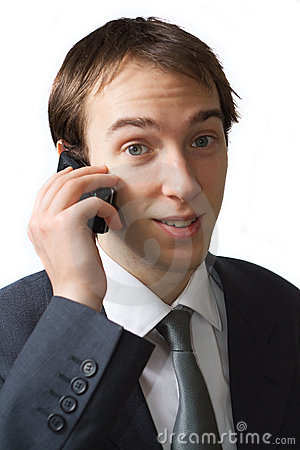 Young professional talks on the phone